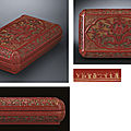 An very rare and important carved <b>polychrome</b> <b>lacquer</b> box and cover, Wanli yiwei cyclical date (1595) and of the period