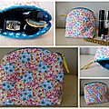 trousse fleurie turquoise