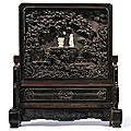 An imperial jade-inlaid carved zitan 'scholar' <b>table</b> <b>screen</b>, Qing dynasty, Qianlong period (1736-1795)