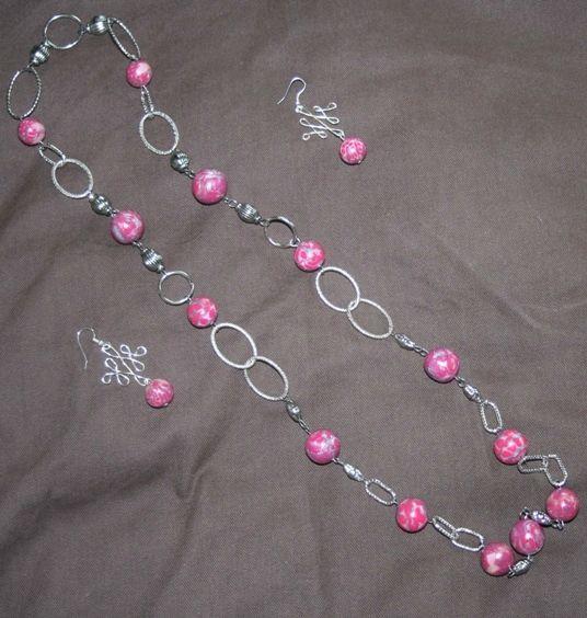 parure (14) perles roses