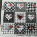 des coeurs en blanc et noir ...et rouge...