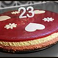 Entremet croustillant framboise chocolat blanc