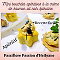 Mini Etoiles feuilletées et mini galettes riz/ avoine garnies de crème saumon avec de l'<b>ail</b> noir et de la spiruline