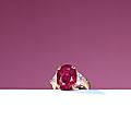 A 10.27 carats <b>oval</b>-<b>shaped</b> <b>ruby</b> and diamond ring
