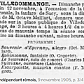 Dimanche 12 Novembre 1905 Sérénade pour la Fête patronale