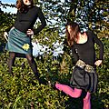 Jupe trapèze en velours côtelé & jupe boule courte
