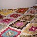 Dessus de lit jardin de grand-mère (hexagones)
