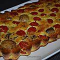 Clafoutis aux champignons , tomates cerise et jambon