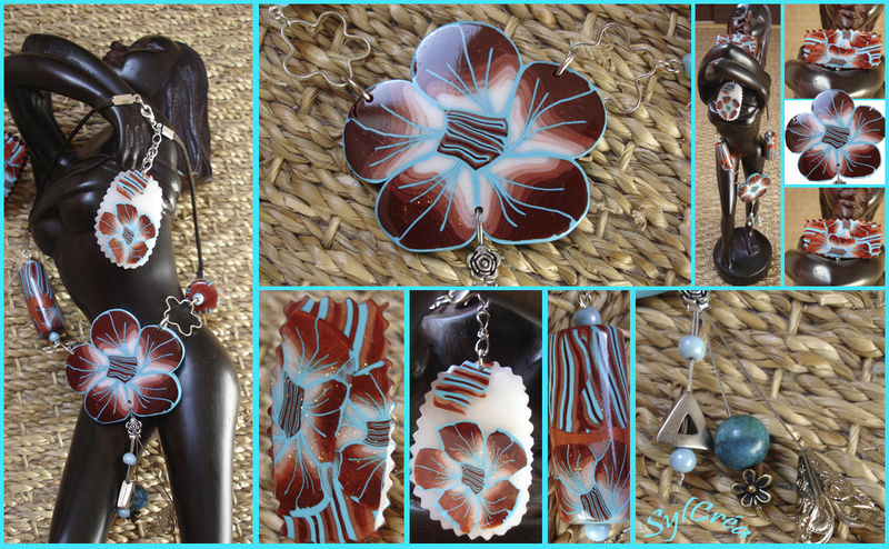 Grosse fleur cuivre et turquoise!