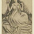 1435-1455 Rhin sup Constance à Mayence - reine de cerfs - Maitre des cartes à jouer - gravure au burin- gallica BnF