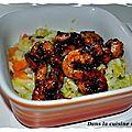 Crevettes marinées et rissoto crémeux aux poireaux