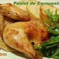 Poulet de cornouailles à l'érable et au citron, pommes de terre grillées au four et salade roquette et épinards à l'érable