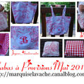 sac cabas toile jouy rouge