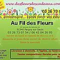 Fleurs pour deuil, fleurs pour anniversaire, fleurs artificielles, cadeaux : une seule adresse ! Au Fil des Fleurs