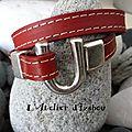 <b>Bracelet</b> <b>double</b> tour <b>cuir</b> rouge <b>double</b> <b>couture</b> et fermoir fer à cheval