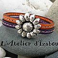 Le <b>printemps</b> et ses fleurs ! Pour être coordonnée, ce <b>bracelet</b> en cuir couleurs <b>printemps</b> orange et violet, fermoir fleurs !