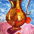 Exemples de peintures de pichets en cuivre