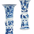 A pair of blue and white beaker vases, gu, kangxi period (1662-1722)