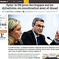 Syrie: le fn pour des frappes sur les jihadistes, avec el-assad - article le figaro 12/08/14