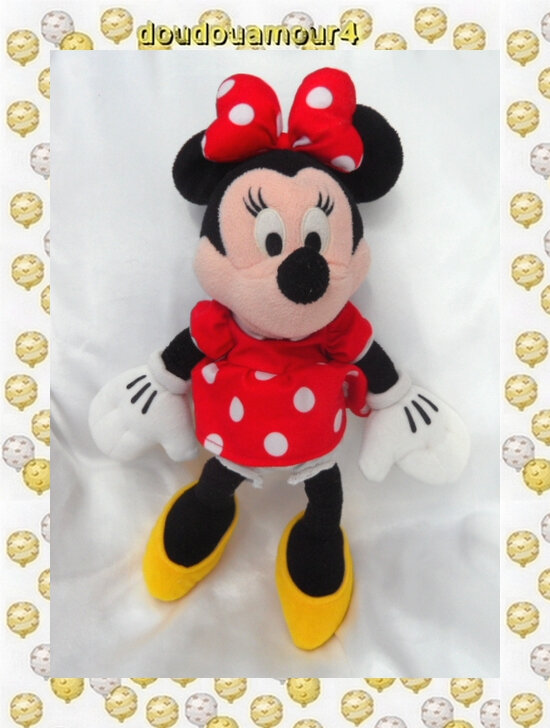 Peluche Doudou Minnie Robe Rouge Pois Disney 35 cm