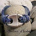 Un côté Arctique pour ce <b>bracelet</b> gris bleu en cordon liberty, orgranza, cuir et chaîne