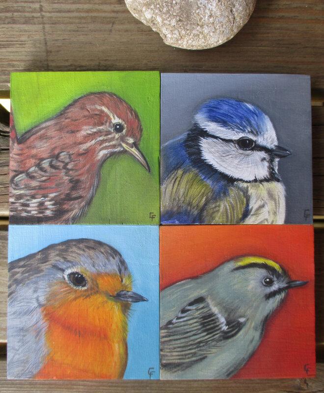 4 portraits d'oiseaux - acrylique sur bois (10*10 cm)
