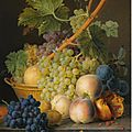 <b>Jan</b> <b>Frans</b> <b>Van</b> <b>Dael</b> (Antwerp 1764 - 1840 Pais), A still life with grapes and peaches in a basket, an open pomegranate, plums, ...