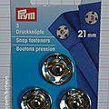 Bouton pression à coudre argent 21 mm