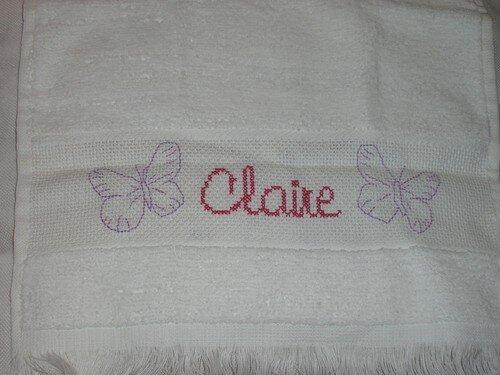 Serviette brodée pour Claire