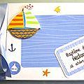 <b>Livre</b> <b>d</b>'<b>or</b> <b>baptême</b> thème marin avec bateau