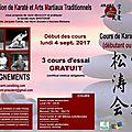 ADMINISTRATION : Lancement de la <b>saison</b> martiale <b>2017</b>-<b>18</b>