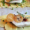 Papillote de cabillaud, citron confit, tomates séchées et petits pois