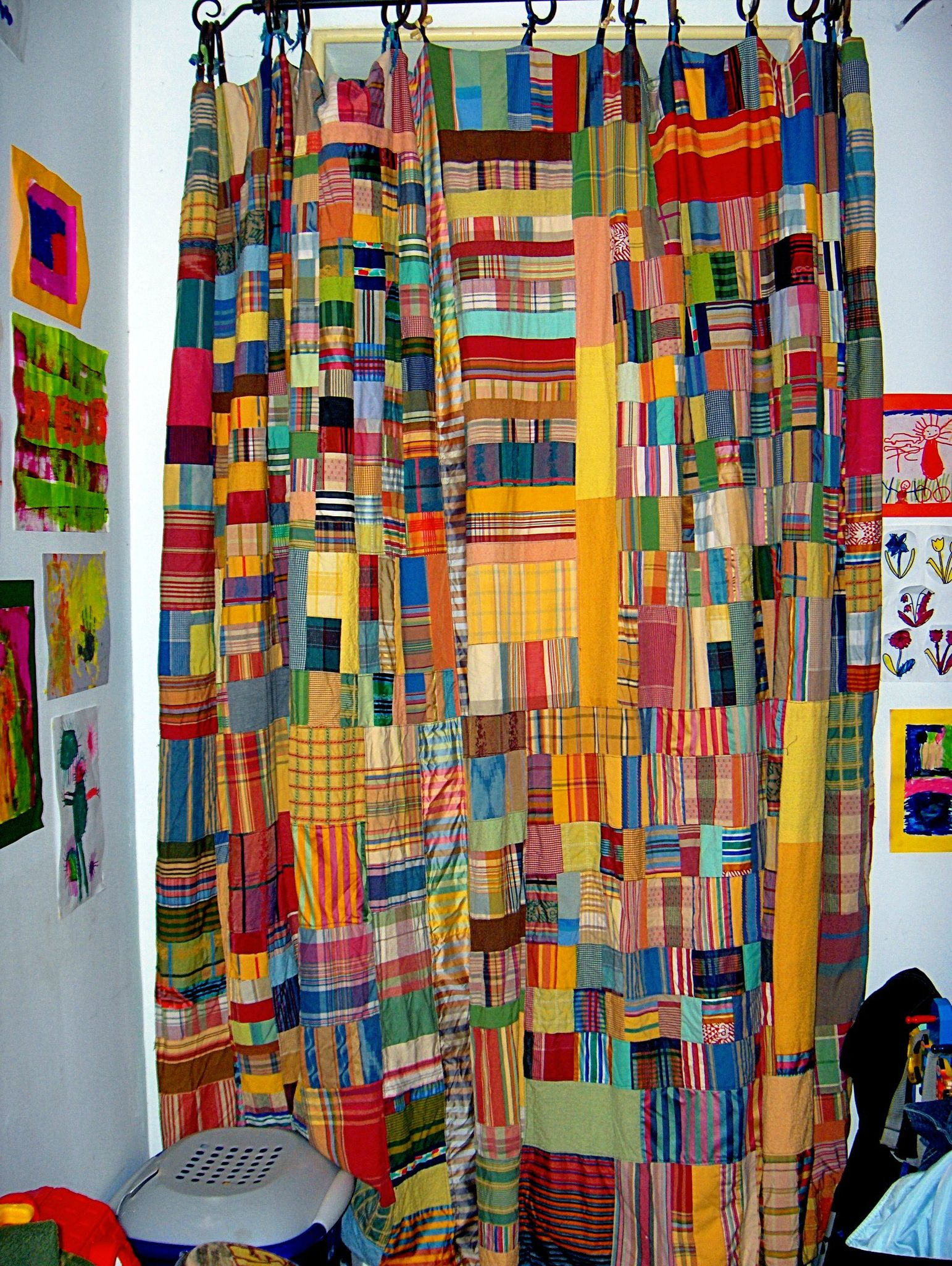 rideau patchwork � tissus ray�