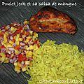 Poulet jerk et salsa de mangue