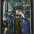 A french enamel plaque depicting joachim and anna meeting at the golden gate, attributed to the penicaud workshop, after a desig