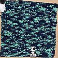 Plaid bleu/vert - carré n°64 - côtes brisées