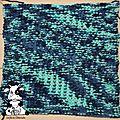 <b>Plaid</b> Bleu/Vert - Carré n°69 - jersey envers relief
