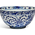 A blue and white 'deer and cranes' bowl, <b>Ming</b> dynasty, 16th-17th century