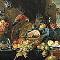 Jan davidsz. de heem (1606–1683/84), a richly laid table with parrots, 1650