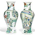 A pair of famille verte vases, Qing dynasty, Kangxi period (1662-1722)