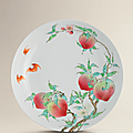 A fine and exceptional famille rose '<b>peach</b>' <b>dish</b>, Yongzheng six-character mark within double square and of the period (1723-1735
