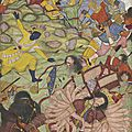 Krishna defeats the thousand-armed Demon Bana. Mughal, <b>Akbar</b> period, 1585–90