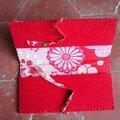 Porte chéquier feutrine rouge