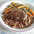 Crépinettes de porc épicées aux lardons et petits pois et carottes