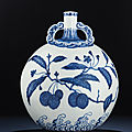A very rare Ming-style blue and white moonflask, bianhu, Yongzheng period (1723-1735)