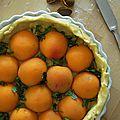 Tarte à l'abricot et au basilic, crème d'amande