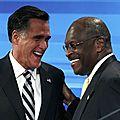 Mitt romney et hermain cain sont devant leurs concurrents