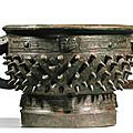 A powerfully cast archaic bronze ritual food vessel, gui, Late Shang dynasty