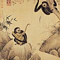 <b>Gibbons</b> at Play, Emperor Xuanzong (1399-1435), Ming dynasty. Hanging scroll, ink and colors on paper, 162.3 x 127.7 cm
