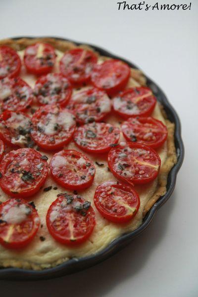 Tarte à la tomate, parmesan & basilic, cheesecake d'olives noires 2